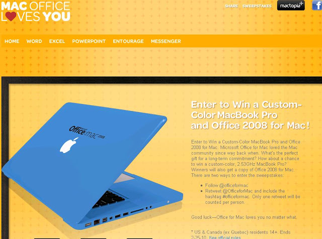 Macofficelovesyou.com/macworld, Macofficelovesyou.com, macofficelovesyou, Microsoft Office For Mac Loves You Sweepstakes