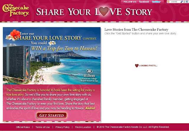 Thecheesecakefactory.com/lovestory - Cheesecake Factory's Share Your Love Story Contest