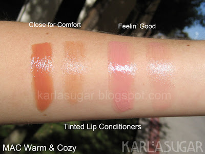 MAC, Warm & Cozy, Tinted Lip Conditioner, swatches, Close for Comfort, Feelin' Good, Feelin Good