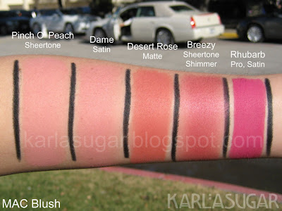 MAC, blush, Pinch O' Peach, Dame, Desert Rose, Breezy, Rhubarb, swatches
