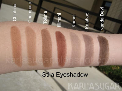 Stila, swatches, Chichina, Champara, Tolima, Illimani, Kamet, Kalahoo, Nanda Devi