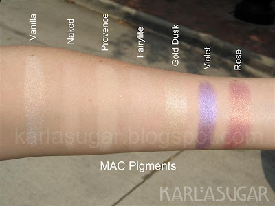 MAC, pigment, swatches, Vanilla, Naked, Provence, Fairylite, Gold Dusk, Violet, Rose