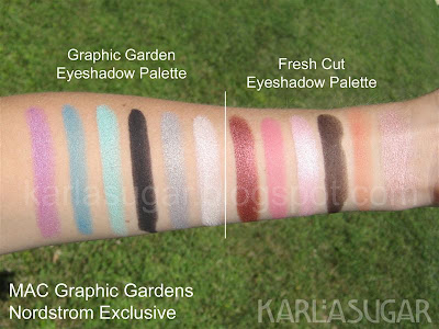 MAC, Graphic Garden, Fresh Cut, swatches, eyeshadow palette, Social Climber, Botanical Blue, Straight Hedge, Wild Wisteria, Linear Lilac, Floral Inc, Sun Shy, Fresh Cut, Poppy Noir, Bloomcycle, Part Peony