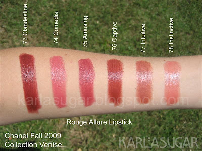 Chanel, fall, 2009, Collection Venise, Collection Venice, swatches, rouge allure, lipstick, clandestine, comedia, amusing, captive, intuitive, instinctive