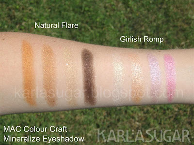 MAC, Colour Craft, Color Craft, eyeshadow, mineralize, swatches, Natural Flare, Girlish Romp