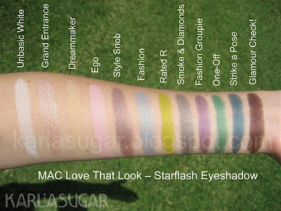 MAC, Love that Look, swatches, starflash, Unbasic White, Grand Entrance, Dreammaker, Dream Maker, Ego, Style Snob, Fashion, Rated R, Smoke & Diamonds, Smoke and Diamonds, Fashion Groupie, One-Off, One Off, Strike a Pose, Glamour Check, Glamour Check!