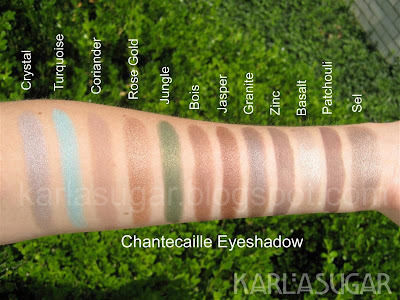 Chantecaille, eyeshadow, swatches, Basalt, Sel, Patchouli, Coriander, Zinc, Granite, Crystal, Turquoise, Rose Gold, Jungle, Bois, Jasper