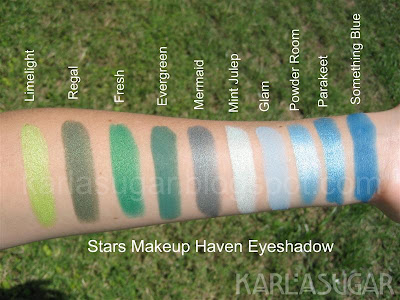 Stars Makeup Haven, SMH, eyeshadow, swatches, Limelight, Regal, Fresh, Evergreen, Mermaid, Mint Julep, Glam, Powder Room, Parakeet, Something Blue