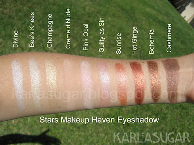 Stars Makeup Haven, SMH, eyeshadow, swatches, Divine, Bees Knees, Bee's Knees, Champagne, Creme d'Nude, Creme d' Nude, Creme de Nude, Pink Opal, Guilty as Sin, Sunrise, Hot Ginge, Bohemia, Cashmere