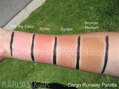 Cargo, Runway, palette, blush, Big Easy, Rome, Topeka, bronzer, medium
