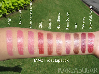 MAC, Frost, lipstick, swatches, Angel, Bombshell, Creme de la Femme, Chic, Sequin, High Strung, Plum Dandy, Fluid, Odyssey, New York Apple