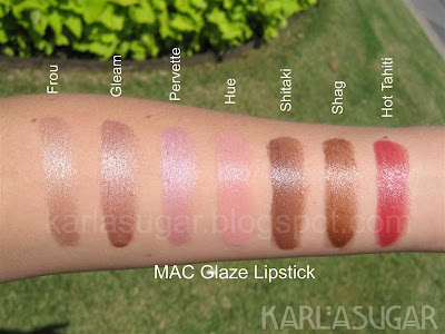 MAC, Glaze, lipstick, swatches, Frou, Gleam, Pervette, Hue, Shitaki, Shag, Hot Tahiti