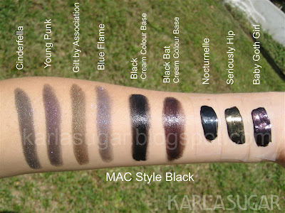MAC, Style Black, swatches, MES, mineralize eyeshadow, Cinderfella, Young Punk, Gilt By Association, Blue Flame, Cream Colour Base, CCB, Black, Bat Black, Nocturnelle, Seriously Hip, Baby Goth Girl
