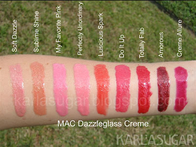 MAC, Dazzleglass Creme, swatches, Soft Dazzle, Sublime Shine, My Favorite Pink, Perfectly Unordinary, Luscious Spark, Do It Up, Totally Fab, Amorous, Creme Allure