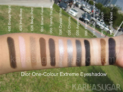 Dior, One-Colour, One-Color, Extreme, eyeshadow, swatches, 486 Bronzy Night, 826 Infra-Rose, 626 Beige Print, 566 Brown Fever, 066 Trendy Taupe, 006 Crystal White, 026 Chrome, 056 Argentic, 086 Flash Black, Flash Back, 516 Nude Luminescence, 546 Gold Touch, 186 Ultra Violet