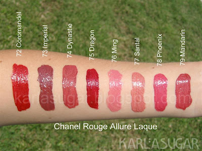 Chanel, Rouge Allure Laque, liquid lipstick, swatches, Coromandel, Imperial, Dynastie, Dragon, Ming, Santal, Phoenix, Mandarin