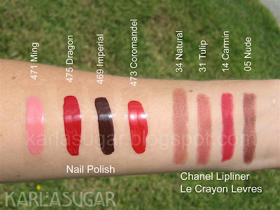 Chanel, lipliner, swatches, Natural, Tulip, Carmin, Nude, nail polish, Ming, Dragon, Imperial, Coromandel
