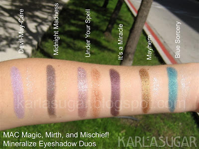 MAC, Magic, Mirth, Mischief, swatches, mineralize, eyeshadow, MES, Devil May Care, Midnight Madness, Under Your Spell, It's a Miracle, Mayhem, Blue Sorcery