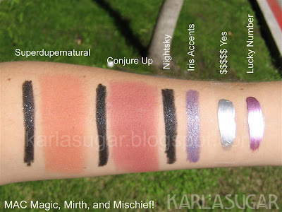 MAC, Magic, Mirth, Mischief, swatches, Superdupernatural, Conjure Up, mineralize, blush, softsparkle eye pencil, Nightsky, Iris Accents, $$$$$ Yes, Lucky Number