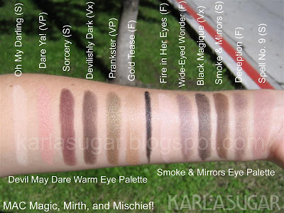 MAC, Magic, Mirth, Mischief, swatches, Devil May Dare, Oh My Darling, Dare Ya!, Sorcery, Devilishly Dark, Prankster, Gold Tease, Smoke and Mirrors, Fire in Her Eyes, Wide-Eyed Wonder, Black Magique, Smoke and Mirrors, Deception, Spell No. 9