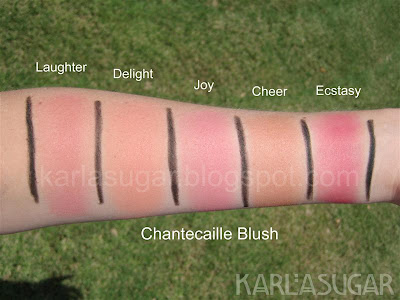 Chantecaille, blush, swatches, Laughter, Delight, Joy, Cheer, Ecstasy