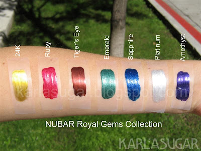 Nubar, Royal Gems, swatches, 24K, Ruby, Tiger's Eye, Emerald, Sapphire, Platinum, Amethyst