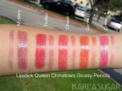 Lipstick Queen, Chinatown, Glossy Pencils, swatches, Mystery, Thriller, Chase, Genre, Crime