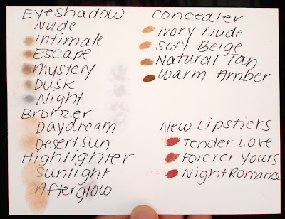 Edward Bess, swatches, eyeshadow, bronzer, highlighter, concealer, lipstick, Nude, Intimate, Escape, Mystery, Dusk, Night, Daydream, Desert Sun, Sunlight, Afterglow, Ivory Nude, Soft Beige, Natural Tan, Warm Amber, Tender Love, Forever Yours, Night Romance