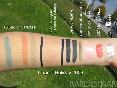 Chanel, holiday, 2009, Collection Cage Doree de Chanel, Golden Cage, swatches, Bird of Paradise, Les Tissages Lames de Chanel, La Ligne de Chanel, Celadon-Lame, Mica Rose, Orange Fizz, Trapeze