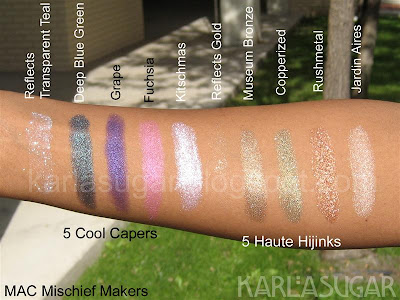 MAC, holiday, 2009, Mischief Makers, swatches, NC44, Haute Hijinks, Jardin Aires, Rushmetal, Copperized, Museum Bronze, Reflects Gold, Cool Capers, Kitschmas, Fuchsia, Grape, Deep Blue Green, Transparent Teal Reflects