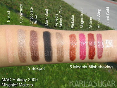 MAC, holiday, 2009, Magic, Mirth, Mischief, Mischief Makers, swatches, Sexpot, Naked, Sunnydaze, Chocolate Brown, Dark Soul, Reflects Antique Gold, Models Misbehaving, Pinkular, Magnetique, Gitane, Angel Wing, Instant Gold