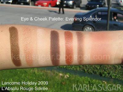 Lancome, holiday, 2009, swatches, eye and cheek palette, Evening Splendor, Honeymoon, Tempted, Impress, Mannequin, Model, Lezard, Bronze Escapade