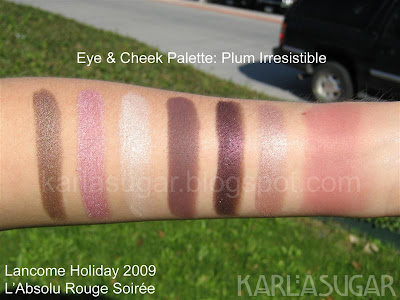 Lancome, holiday, 2009, swatches, eye and cheek palette, Plum Irresistible, Rapturous, Seductive Gaze, Magnificent, Captivating, Diva Shimmer, Entrancing, Violet Sunrise
