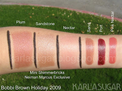 Bobbi Brown, Shimmerbrick, Shimmer Brick, Plum, Nectar, Sandstone, Pink Nectar, Sand, Port, swatches