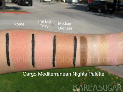 Cargo, Mediterranean Nights palette, swatches, Rome, The Big Easy, Medium bronzer