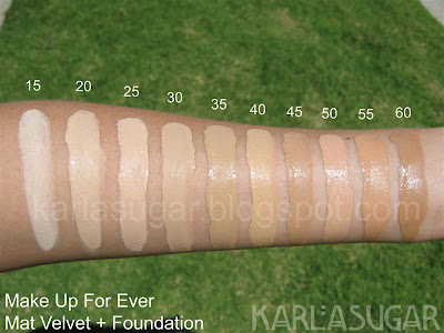 make up for ever mat velvet swatches