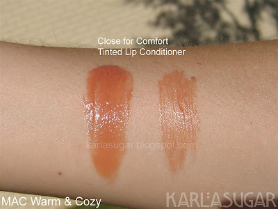MAC, Warm and Cozy, swatches, Tinted Lip Conditioner, TLC, Close for Comfort