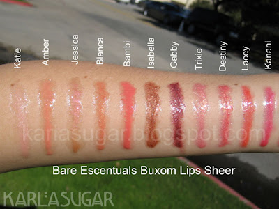 BE, Bare Escentuals, Buxom, lipgloss, swatches, Katie, Amber, Jessica, Bianca, Bambi, Isabella, Gabby, Trixie, Destiny, Lacey, Kanani