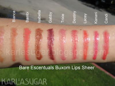 BE, Bare Escentuals, Buxom, lipgloss, swatches, Bianca, Bambi, Isabella, Gabby, Trixie, Destiny, Lacey, Kanani, Candi