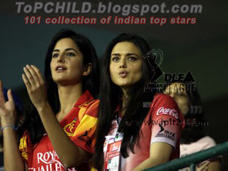 Katrina kaif  and preity zinta in ipl20 cricket match