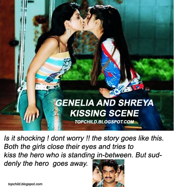 Genelia D souza  and shreya hot lesbian kiss in a telugu movie