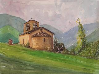 ermita, sant quirc de durro, alta ribagorça,romanic,romanico,watercolor,aquarel·la,acuarela,roger mora,rmora,catalunya,catalonia,cataluña