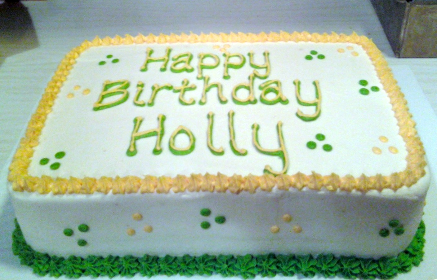Sarahs Cake Haven Green N Yellow Birthday Cake