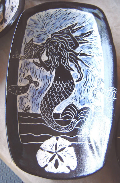 Mermaid Dish with Blue Sea (sold)