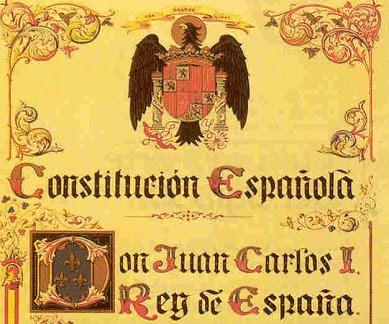 Àliga, jous i fletxes encapçalant l'exemplar original de la Constitució de 1978