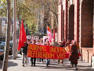 >Sasana Moli (Australia) staged peaceful protest walk condemning Burmese Junta's sham referendum