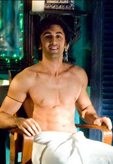 Shirtless Ranbir Kapoor in towel