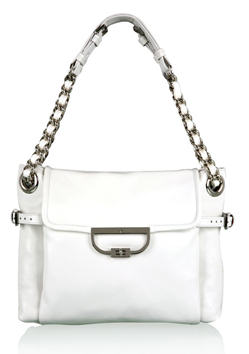 Lovely white leather fashion bag that would be ideal for summer. It features  a delightful shoulder strap constructed from chain and white leather – it  has ... 625da78114044