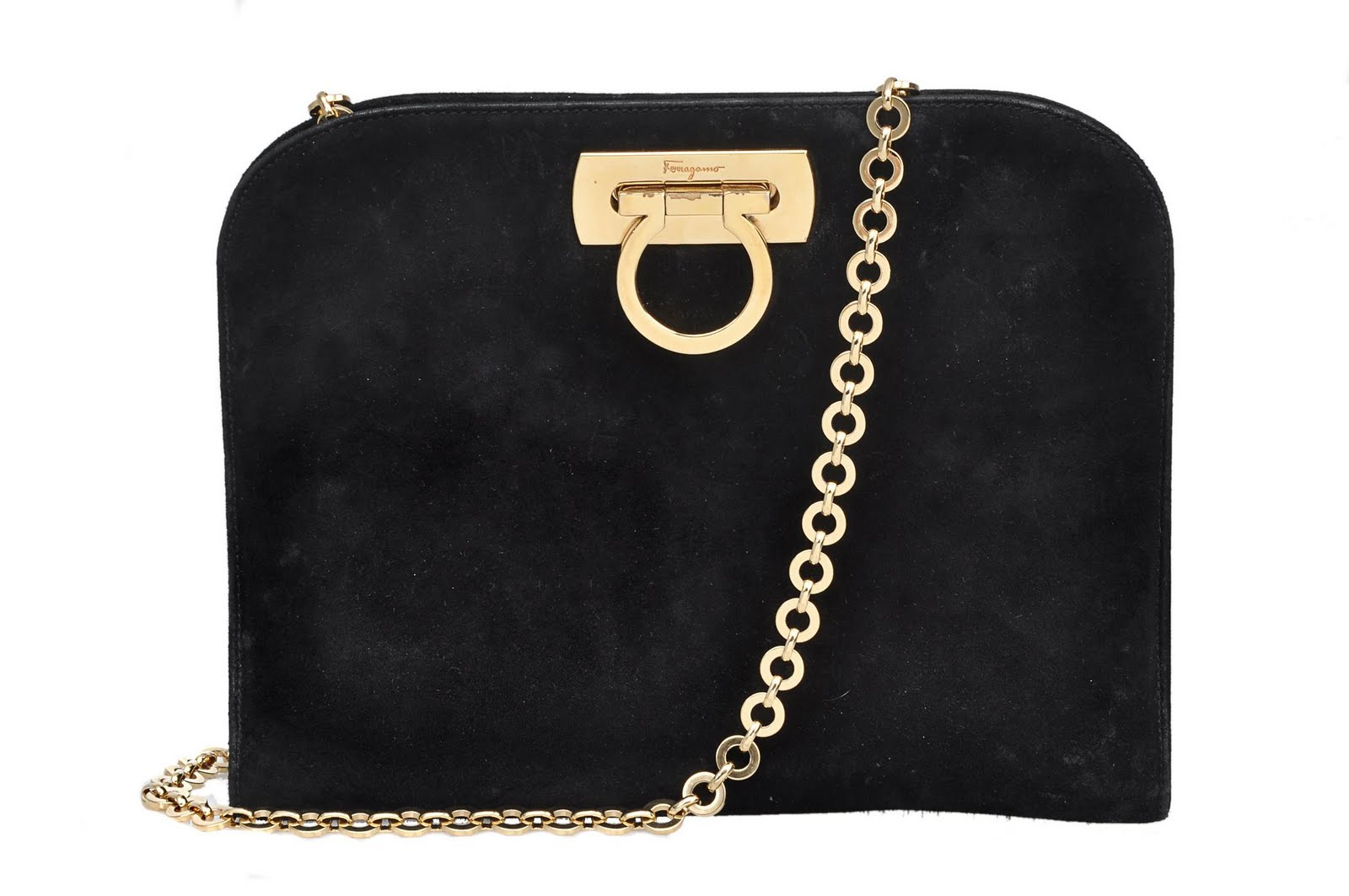 Salvatore Ferragamo Black Suede Gold Hardware Clutch Shoulder Bag