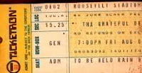 Grateful Dead 08/02/74 Ticket - Cancelled due to rain